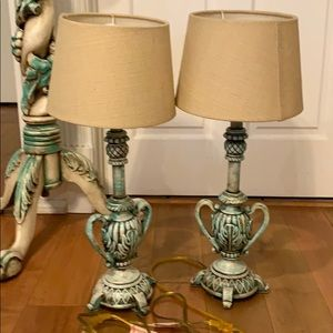 2 Intricate Hand Painted Lamps